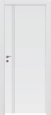 דלתות פנים - חירוץ 3 פסי אורך צד ידית לבן