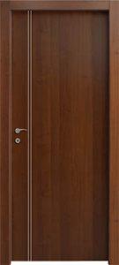 דלתות פנים פסי ניקל 2 לאורך צד ידית אגוז