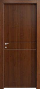 דלתות פנים פסי ניקל 2 רוחב במרכז הדלת אגוז