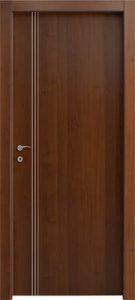 דלתות פנים פסי ניקל 3 לאורך צד ידית אגוז
