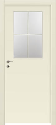 דלתות פנים - צוהר חצי דלת מחולק ל-4 שמנת