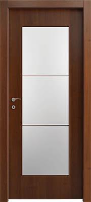 דלתות פנים צוהר יפני מחולק ל-3 אגוז