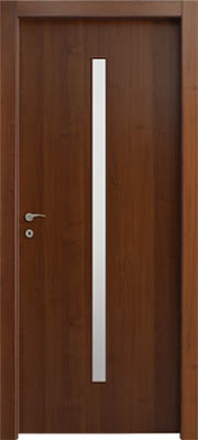 דלתות פנים צוהר מעלית 8X160 במרכז הדלת אגוז