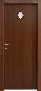 דלתות פנים 1 צוהר מעויין 15X15 במרכז הדלת אגוז