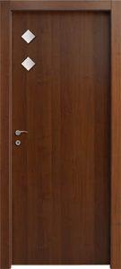 דלתות פנים 2 צוהר מעויין 15X15 צד ידית אגוז