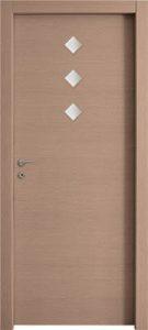 דלתות פנים 3 צוהר מעויין 15X15 במרכז הדלת אלון מולבן