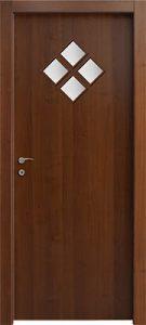 דלתות פנים 4 צוהר מעויין 15X15 (מעויין 1 גדול) אגוז