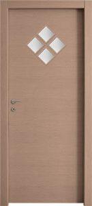 דלתות פנים 4 צוהר מעויין 15X15 (מעויין 1 גדול) אלון מולבן