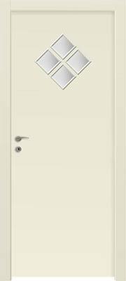 דלתות פנים - 4 צוהר מעויין 15X15 (מעויין 1 גדול) שמנת